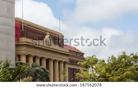 Facade and building entrance of the Wellington Railway station in New Zealand - stock photo