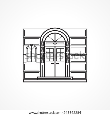 Facade arch door black line icon. Black flat line icon for facade arch door with details and window for some shop or hotel or other building on white background.
