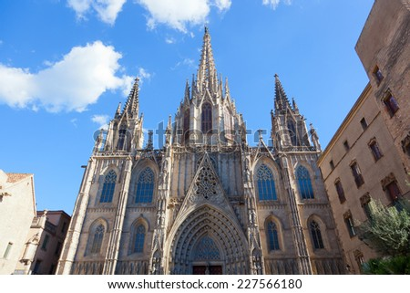 Facade Cathedral of the Holy Cross and Saint Eulalia, Barcelona, Spain - stock photo