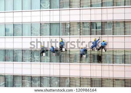 Facade cleaning. - stock photo