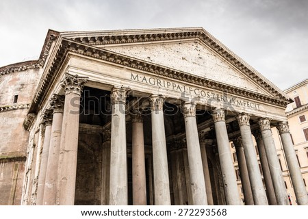 Facade, columns and architecture details of historical building in the center of Rome, Pantheon - stock photo
