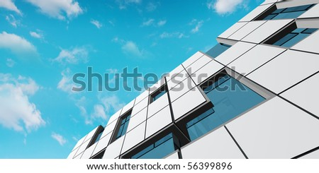 Facade concept. My project, not real building - stock photo
