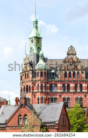 Facade in the Speicherstadt in Hamburg, Germany - stock photo