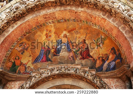 Facade Mosaic on entrance of Cathedral San Marco in Venice. Italy  - stock photo