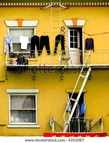 Facade of a block of flats in Cina Town, San Francisco, California, USA - stock photo