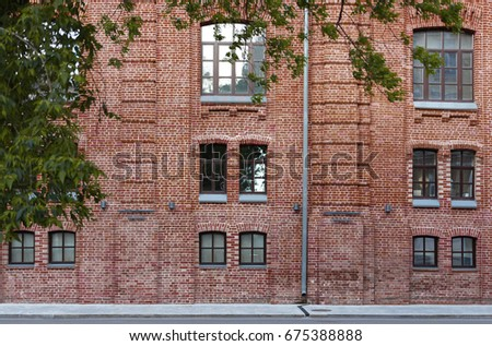 Facade Of A Brick Building The Background City Street