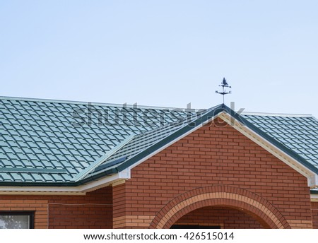 Metal roof truss stock images royalty free images for Modern roofing materials