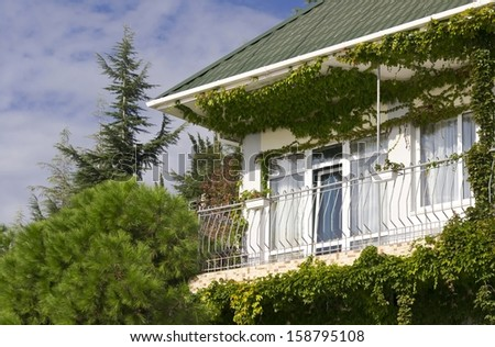 facade of a building in the vegetation - stock photo