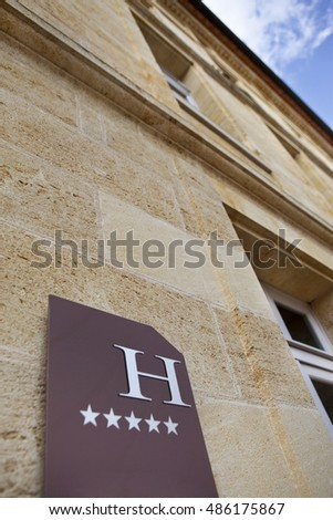 Facade of a five stars hotel near Bordeaux, France
