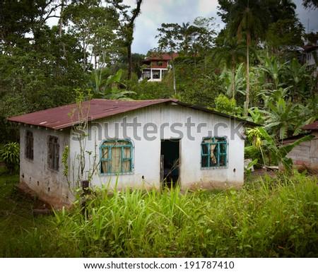 Facade of a house in a village, Costa Rica - stock photo