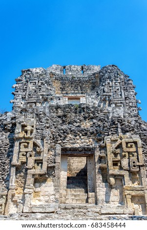 Facade of a Mayan temple in the ancient city of Chicanna, Mexico
