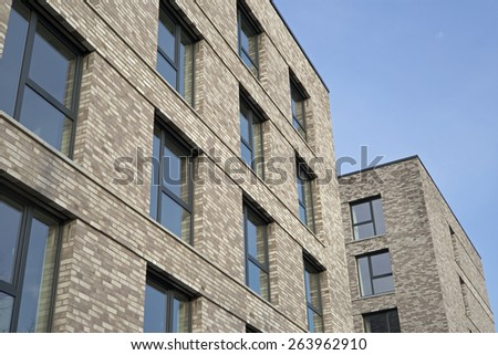 Facade of a modern apartment building - stock photo