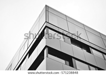 Facade Of A Modern Apartment Building Black And White