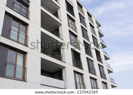 Good Facade Of A Modern Apartment Building In Frankfurt, Germany
