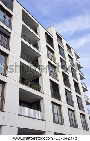 Facade of a modern apartment building in Frankfurt, Germany - stock photo