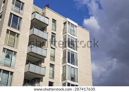 Facade of a modern apartment building in Hamburg - stock photo