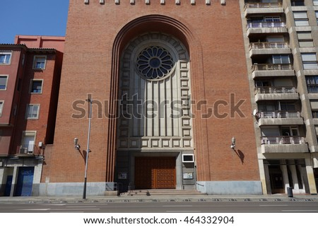 "Facade of a modern church called ""el corazon de Maria"" in Saragossa, Spain"