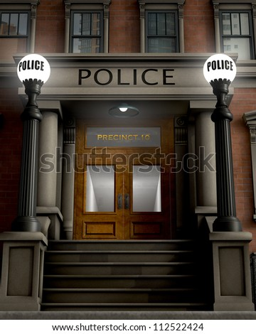Facade of a police station rendered in a retro/traditional style