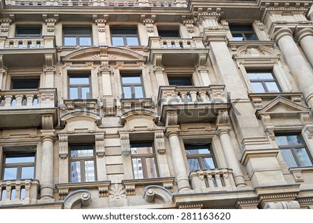 Facade of a traditional apartment building in Frankfurt am Main, Germany - stock photo