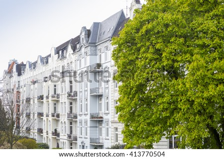 Facade of a traditional apartment building in Hamburg, Germany - stock photo