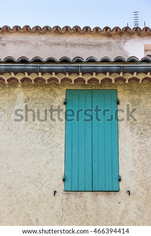 Facade of a traditional building in L'Isle-sur-la-Sorgue  Provence, France