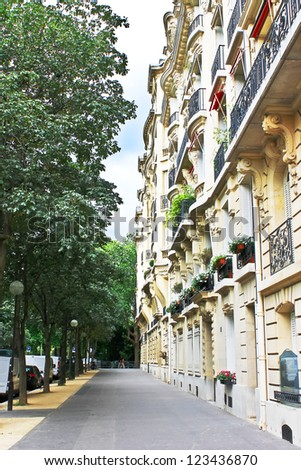 Facade of a traditional building in  Paris, France - stock photo