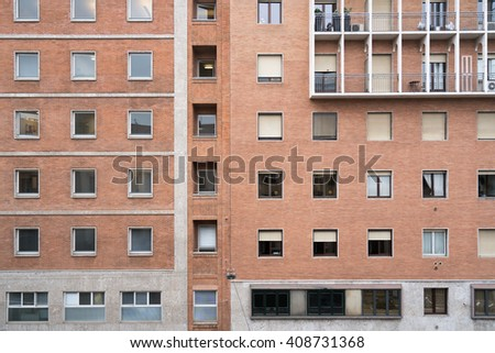 Facade of a typical building in Italy - stock photo