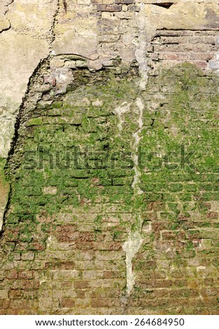 Facade of an algae infested river retention brickwall, for textural background. - stock photo