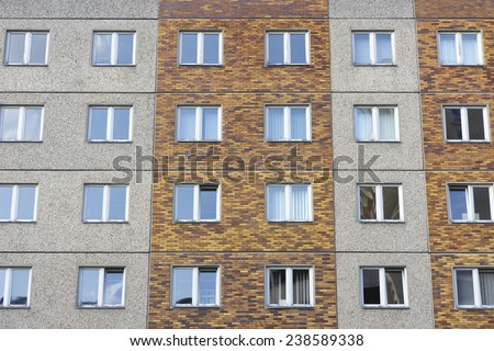 Facade of an apartment building in Neubrandenburg,Germany - stock photo