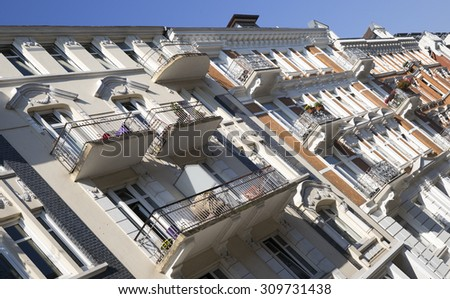 Facade of an old apartment building in Hamburg, Germany - stock photo
