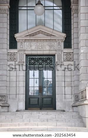 Facade of an old building - stock photo