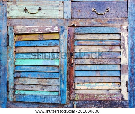 facade of an old dresser - stock photo