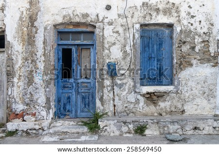 Facade of an old house in Kythnos island, Cyclades, Greece