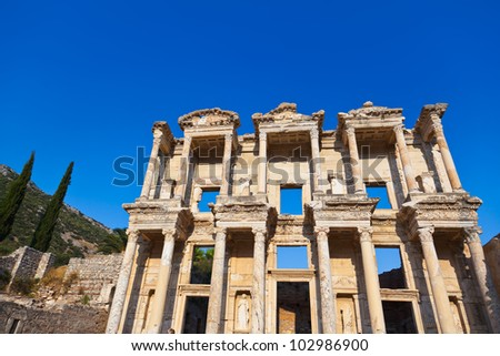 Facade of ancient Celsius Library in Ephesus Turkey - stock photo