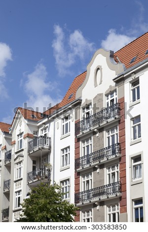 Facade of apartment buildings in Hamburg, Gemany