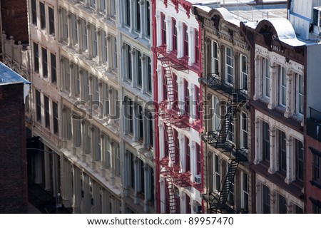 Facade of apartment Buildings in New York - stock photo