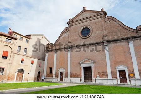 facade of Basilica di San Francesco in Ferrara, Italy - stock photo