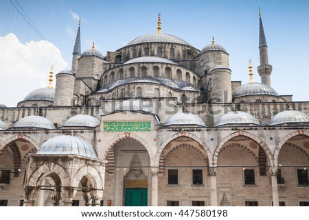 Facade of Blue Mosque or Sultan Ahmed Mosque, it is a historic mosque located in Istanbul, Turkey, one of the most popular city landmarks. It was built between 1609 and 1616 during the rule of Ahmed I - stock photo
