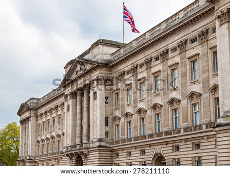 Facade of Buckingham Palace in London - Great Britain - stock photo
