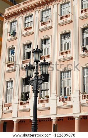 facade of building in havana, cuba - stock photo