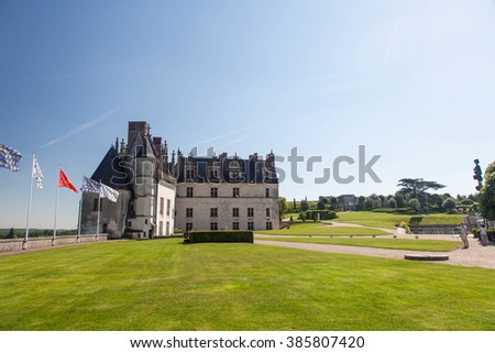Facade of Castle of Amboise in France - stock photo