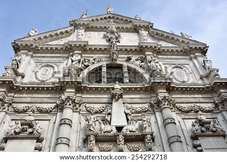 Facade of church  San Moise in Venice, Italy  - stock photo