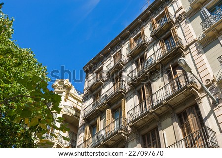Facade of classical residential building in Barcelona, Spain. - stock photo