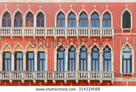 facade of colorful traitional Venice house  Italy - stock photo