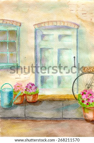 facade of country house, an old blue door, flowers in pots - stock photo