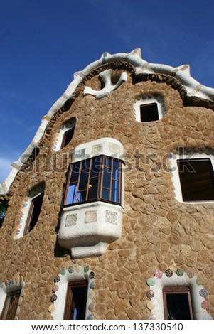 Facade of Gaudi Architecture in Barcelona in Spain - stock photo