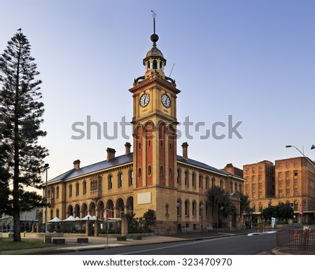 facade of historic Customs house building in Newcastle, Australia, which is a hotel in downtown - stock photo