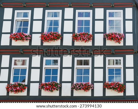 Facade of historical half-timbered house in the old city of Celle, Germany - stock photo