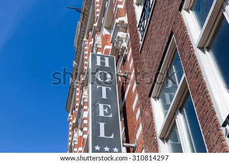 Facade of hotel in Amsterdam, The Netherlands