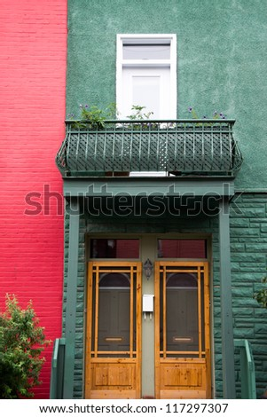 Facade of Houses, colorful, typical of Montreal, Quebec, Canada.